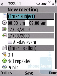 Calendar options - Nokia E55 Review