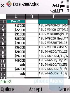 Edit mode - Excel - Nokia E55 Review