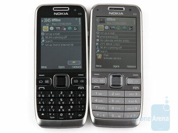 The only difference in the appearance between Nokia E55 (left) and Nokia E52 (right) is the keyboard. - Nokia E52 Review