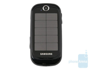 The solar panels take the better part of the back side of the Samsung Blue Earth S7550 - Samsung Blue Earth S7550 Preview