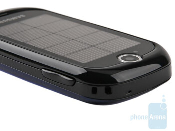 The solar panels take the better part of theback side of the Samsung Blue Earth S7550 - Samsung Blue Earth S7550 Preview