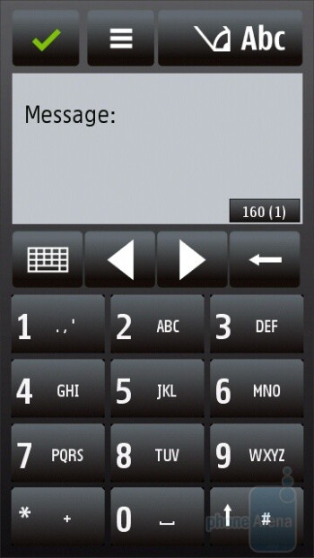 Virtual numeric keypad - Messaging with the Nokia 5530 XpressMusic - Nokia 5530 XpressMusic Review
