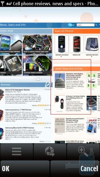 The browser of Nokia 5530 XpressMusic - Nokia 5530 XpressMusic Review
