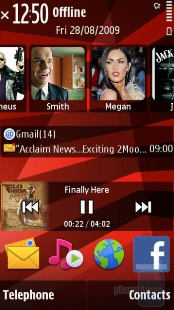 Audio player runningin the background - Home screen - Nokia 5530 XpressMusic Review
