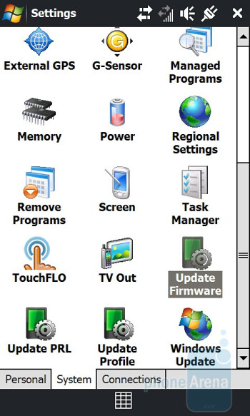 Settings - HTC Touch Pro2 for Sprint Review