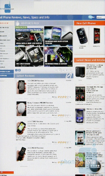 The internet browser of the Sony Ericsson XPERIA X2 - Sony Ericsson XPERIA X2 Preview