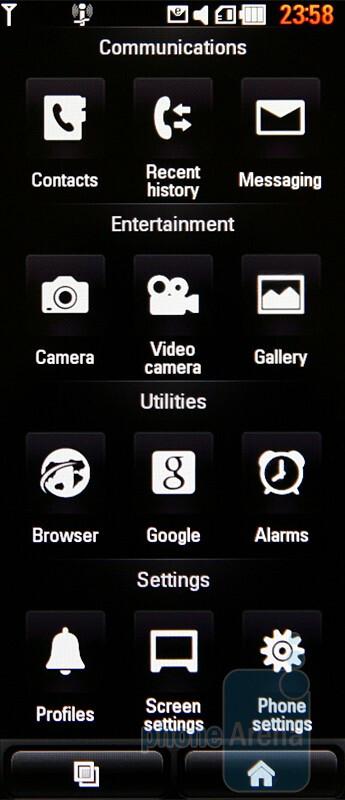 Main menu - portrait mode - LG New Chocolate BL40 Preview