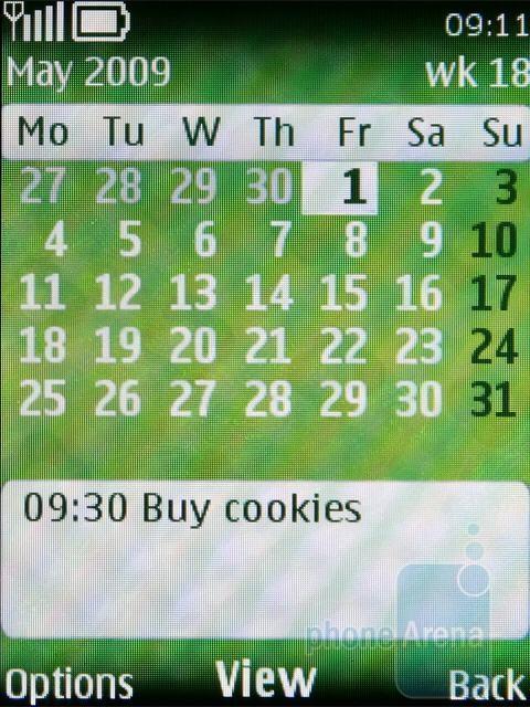 Calendar - Nokia 3720 classic Review
