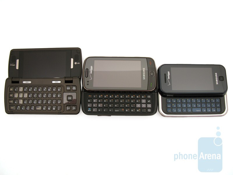 From left to right the phones are LG enV Touch VX1100, Samsung Rogue U960, Samsung Glyde U940 - Samsung Rogue U960 Review