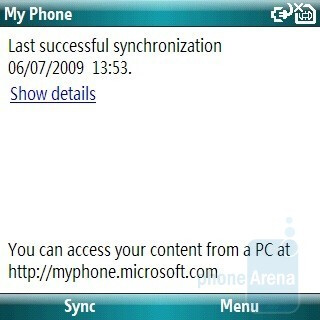 Phone synchronization with Microsoft My Phone - Samsung OmniaPRO B7330 Preview