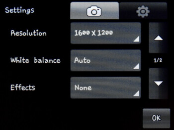 Camera interface - Samsung Corby S3650 Preview