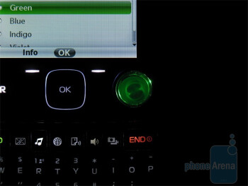 Nokia 7705 Twist has a 'contact light ring' that will illuminate different colors depending on who is  calling or sending a message - Nokia 7705 Twist Review
