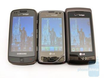 From left to right Samsung Rogue, LG Chocolate Touch VX8575, LG enV Touch - LG Chocolate Touch VX8575 Preview