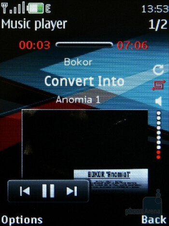 The 4 themes of the audio player - Nokia 5130 XpressMusic Review