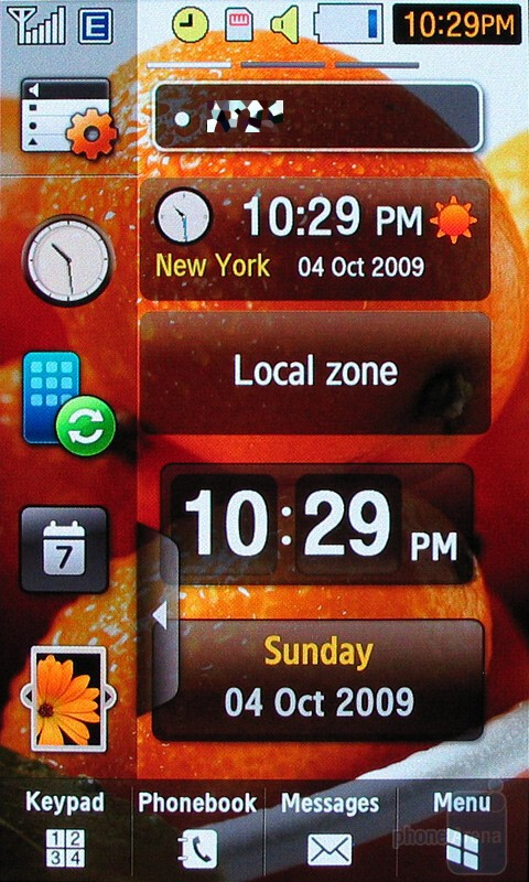 The home screens of the Samsung Pixon12 M8910 - Samsung Pixon12 M8910 Review