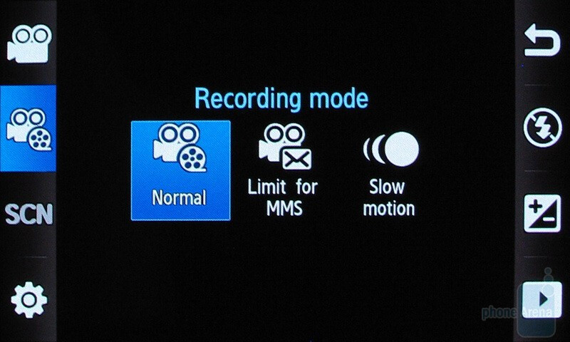 The camcorder interface - Samsung Pixon12 M8910 Review
