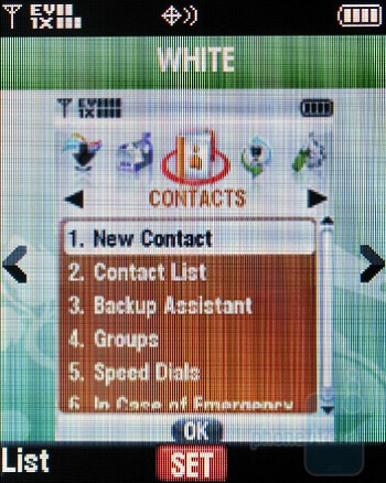 White - The main menu and the 3 themes of Motorola Entice W766 - Motorola Entice W766 Review