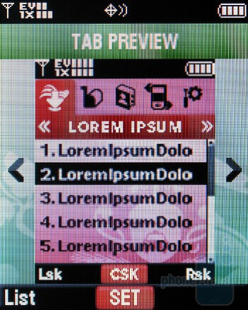 Tab view - The theme layouts - Motorola Entice W766 Review