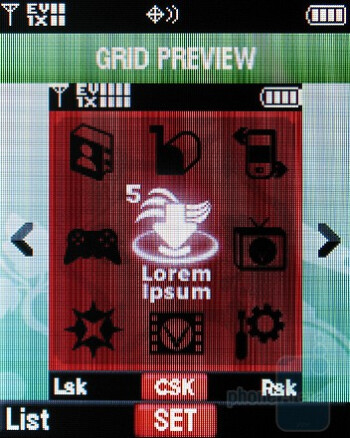 Grid view - The theme layouts - Motorola Entice W766 Review