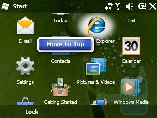 The start menu - Samsung Intrepid i350 Review