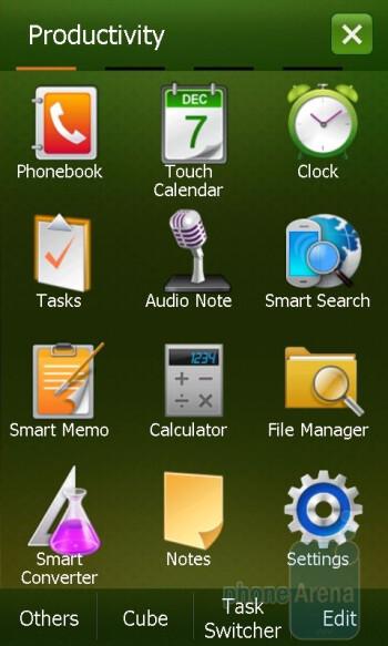 The main menu of the Samsung Omnia II - LG GM750 Preview
