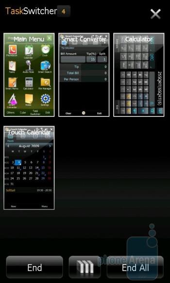 The multitasking menu of theSamsung Omnia II - LG GM750 Preview