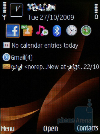 The home screen - The Nokia 6760 slide runs with Symbian S60 3rd Edition operating system - Nokia 6760 slide Review