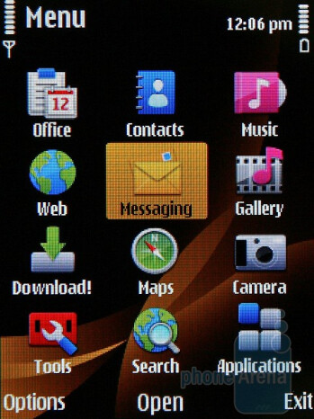 The main menu - The Nokia 6760 slide runs with Symbian S60 3rd Edition operating system - Nokia 6760 slide Review