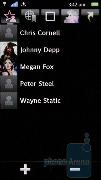 Favorite contacts - The StandBy theme of the Sony Ericsson Satio - Sony Ericsson Satio Review