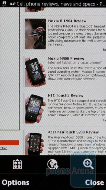 The Internet browser of the Sony Ericsson Satio - Sony Ericsson Satio Review