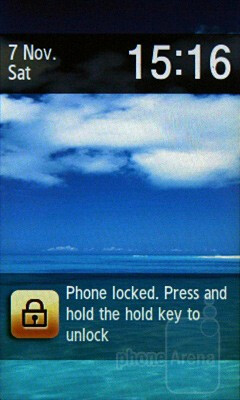 Lock screen - Samsung Blue Earth S7550 Review