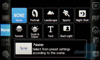 Camera interface of the Samsung OmniaLITE B7300 - Samsung OmniaLITE B7300 Review