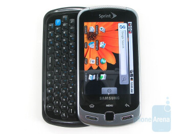 The four row QWERTY keyboard of the Samsung Moment - Samsung Moment Review