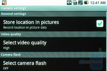 Camera settings - Samsung Moment Review