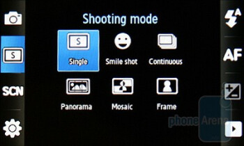 The interface of the camera - Samsung S5560 Review