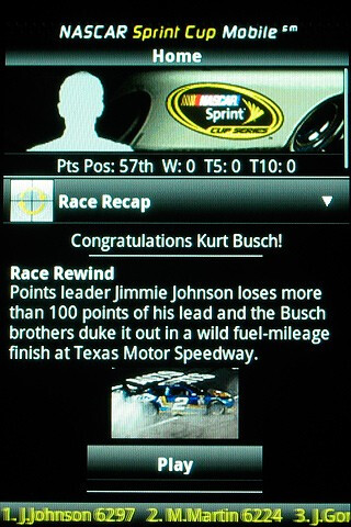 NASCAR Sprint Cup - Samsung Moment Review