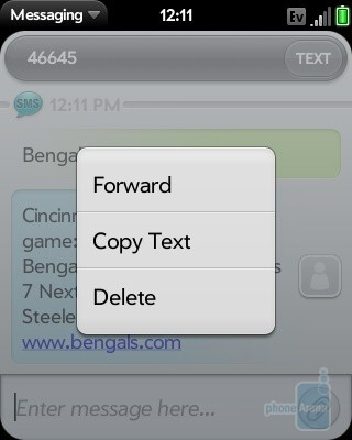 Message forwardingis now enabled as well - Palm Pixi Review