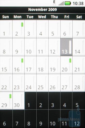 The calendar of Motorola CLIQ - Motorola CLIQ Review