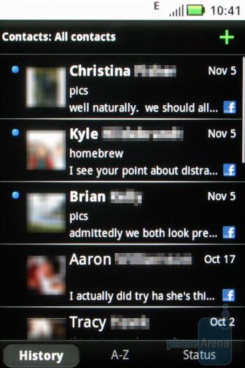 Contacts - Motorola CLIQ Review