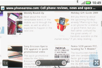 The stock Android browser of the Motorola CLIQ - Motorola CLIQ Review