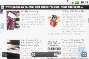 The stock Android browser of the Motorola CLIQ - Motorola CLIQ Review