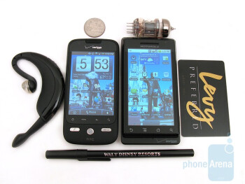 The HTC DROID ERIS next to the Motorola DROID - HTC DROID ERIS Review