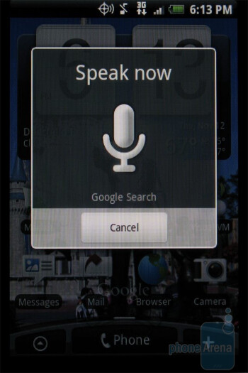 Google search bar and voice search - HTC DROID ERIS Review
