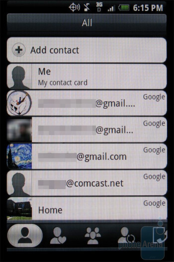 The Phonebook of the HTC DROID ERIS - HTC DROID ERIS Review