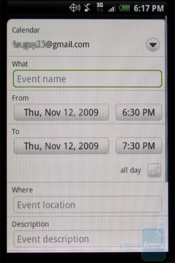 The calendar - HTC DROID ERIS Review