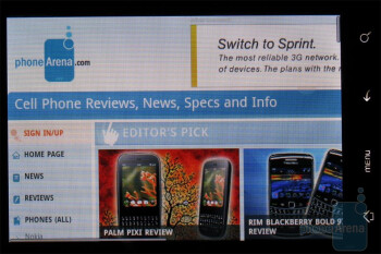 The browser of HTC DROID ERIS is WebKit based - HTC DROID ERIS Review