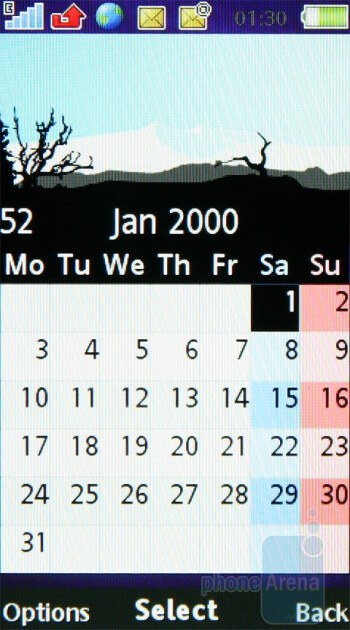 The calendar showing 4 different months - Sony Ericsson Aino Review