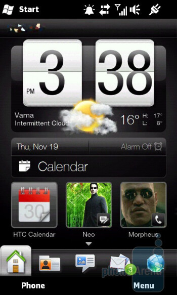 Home screen, People tab, update and events in the phone book and the Link profile option - HTC HD2 Review