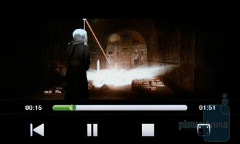 The built-in video player of the HTC HD2 - HTC HD2 Review
