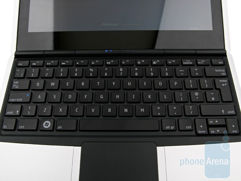 The keyboard is slightly smaller than that of a standard netbook, but the buttons are large enough - Nokia Booklet 3G Review